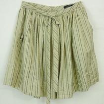 Robert Rodriguez Champagne Silky Stripe Full Gathered Sassy Bow Tie Mini Skirt 2 Photo