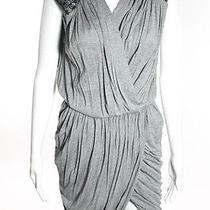 Robert Rodriguez Gray Black Sequined Sleeveless v-Neck Wrap Dress Sz 0 Photo