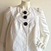 Robert Rodriguez Metallic Linen Blend Jacket in Ivory/metallic Size 2  Photo