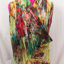 Robert Rodriguez Sheer 100% Silk Bright Colorful Draped Faux Wrap Style Top Sz 6 Photo
