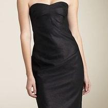 Robert Rodriguez Shimmer Strapless Black Wool Dress Built-in Corset Size 8 Photo