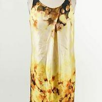 Robert Rodriguez Yellow Brown Abstract Silk Womens Pleated Sleeveless Dress Sz 2 Photo