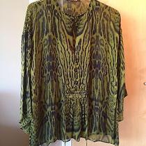 Roberto Cavalli 100% Silk Green Animal Print Keyhole Kimono Blouse 40 Msrp 1055 Photo