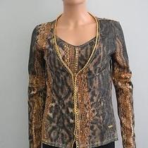 Roberto Cavalli Black/brown/gold Animal Print/chainlink Twin Set/sweater Sz S/m Photo