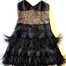 Roberto Cavalli Black Cocktail Lace Feathers Dress - Size 38 - New Without Tags Photo