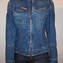 Roberto Cavalli Blue Denim Fitted Jacket Zip Front & Sleeves Crystal Name Plate  Photo