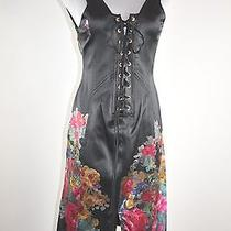 Roberto Cavalli Floral Print Silk Corset Fitted Shift Sleeveless Dress Sz 42  Photo