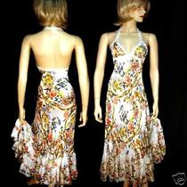 Roberto Cavalli Floral Print With  Gold Painting  Dress  Gown Super Sale Photo
