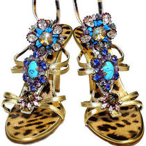 Roberto Cavalli  Gold Color  Leopard Print Leather  Crystal Jewelry Shoes   Photo