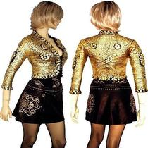 Roberto Cavalli Gold Color Painting   Knitted  Jacket Shrug Photo
