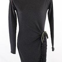 Roberto Cavalli Graphite Wool Long Sleeve Dress 6 Photo