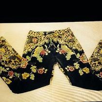 Roberto Cavalli Leopard & Flowers Art Print Jeans Women Sz M Photo