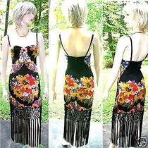 Roberto Cavalli  Multi Color Florar Print Black  Fringe  Corset Dress Photo