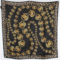 Roberto Cavalli Nwt Black Leopard & Gold Logo Chain Silk Scarf Photo