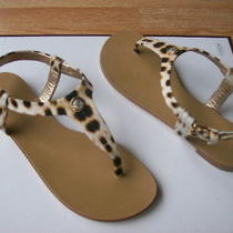 Roberto Cavalli Sandals Thong Flat Print Leopard Logo Italy 38 Us 8 New Photo