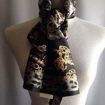 Roberto Cavalli Signature/logo Animal Print Twill Silk Scarf Size 90x90 Cm Black Photo