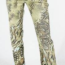 Roberto Cavalli Stretch Animal Print Pants Painted Jeanss Photo