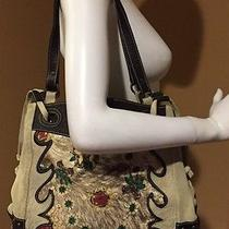 Roberto Cavalli Suede Leather & Painted Canvas Tote Bag Photo