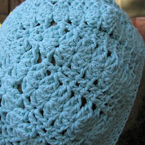 Robins Egg Aqua Blue  Slouchy Hat Baggy 100% Cotton Crochet Photo