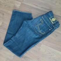 Rock and Republic Men's Blue Jeans Pants Size 34 X 33 Button Fly Stitching Mint Photo