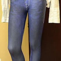 Rock & Republic Electric Blue Snake Leggings New Edgy Faux Jeans Nice Sz S Photo