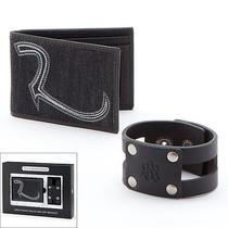 Rock & Republic Front Denim Pocket Wallet & Cuff Leather Bracelet Mens 2pc Set Photo