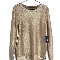 Rock & Republic Gold Painted Crew Neck Sweater. Nwt. Small Photo