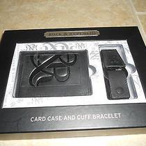Rock & Republic Leather Card Case Wallet Black Cuff Bracelet 42.00 Photo