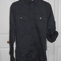 Rock & Republic Mens Black Textured Stripe Roll-Tab Sleeves Button Down Shirt M Photo