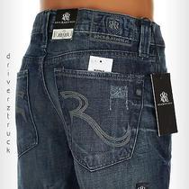 Rock & Republic New 36 X 32 Distressed Dark Blue Denim Jeans Bolt Straight Leg Photo