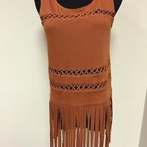Rock & Republic Vintage Style Fringed Tanktop Shirt  Brown  Size Small Photo