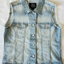 Rock & Republic Womens Studded  Distressed Blue Denim Jean Vest Light Wash Sz L Photo