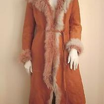 Rock Star Hot Nina Ricci Tuscan Lamb Dusty Rose Shearling Coat Size 6 France Photo