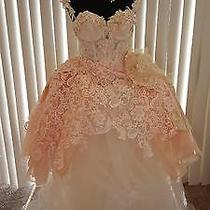 Romantic Blush & Ivory Corset Lace Tulle Organza Wedding Ball Gown Photo