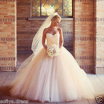 Romantic Blush Tulle Wedding Dresses Sweetheart a Line Tulle Bridal Gowns Photo