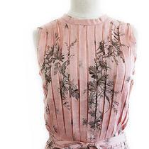 Romantic Prada Nude Pleated Cotton Floral Printed Cotton Dress 42 Photo
