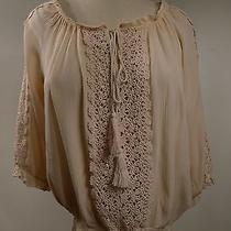 Romeo & Juliet Couture S Lightweight Peasant Top Crochet Design Blush Nwot Photo