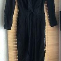 Rory Beca 100% Silk Full Length Black Jumpsuit Long Sleeve v Neck Revolve S 6-8 Photo