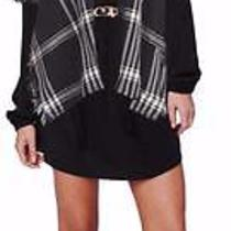 Rory Beca Nadine S/s Black/white Plaid Poncho Cape   Nwt 118 Photo