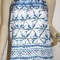 Rory Beca Nwt Blue & White Open Back Silk Printed Tank Top Size Large Photo
