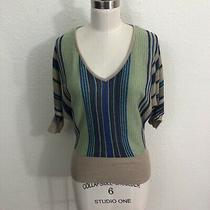 Rory Beca Sweater Sz S Blue Green Gold Striped Dolman Sleeve Photo