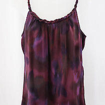 Rory Beca Women's Purple Burgundy Abstract Print Woven Neckline Shirt Top Sz S Photo
