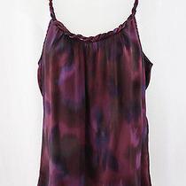 Rory Beca Women's Purple Burgundy Abstract Print Woven Neckline Shirt Top Sz S Photo