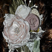 Rose Blush Nude Pink White Hair Clip Fascinator Flower Wedding Bride Silk Satin Photo