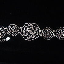 Rose Bracelet Clear Swarovski Crystal Bracelet Bridesmaids Bracelet B715 Photo