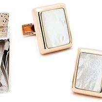 Rose Gold and Mother of Pearl Jfk Presidential Cufflinks With 12 Collar Stays Photo
