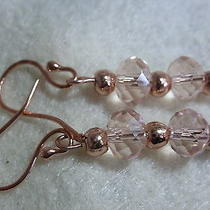Rose Gold and Pink Blush Faceted Crystal Earrings Earrings Photo
