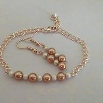 Rose Gold and Stardust Wedding or Bridesmaid Set- Earrings and Matching Bracelet Photo