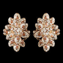 Rose Gold Champagne Rhinestone Clip on Earrings 8944  Photo