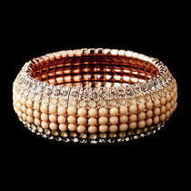 Rose Gold Champagne Rhinestone Stretch Bracelet 8878  Photo